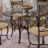 Hillsdale Pompei 48 Inch Dining Table with Glass Top-Black ...