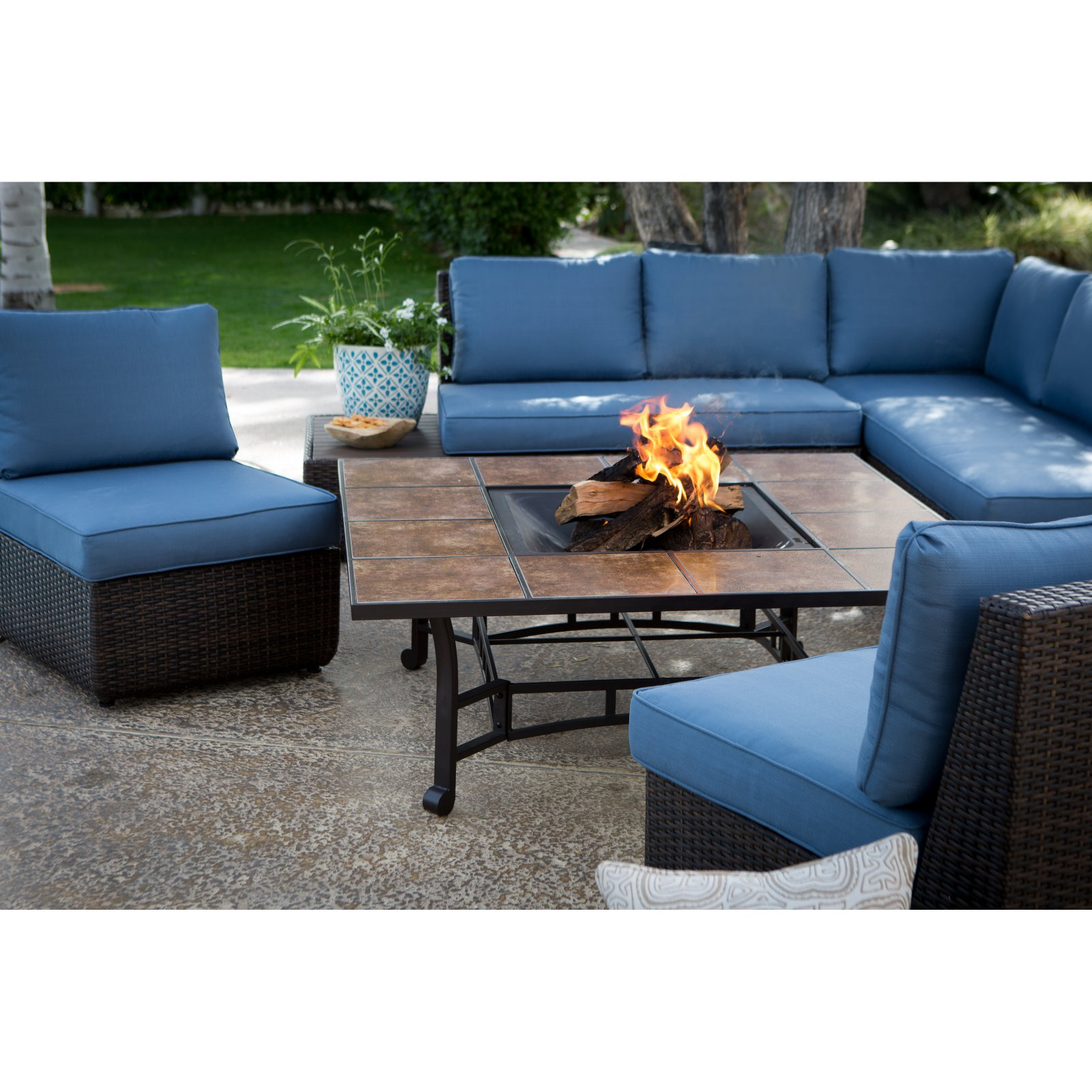 bay sofa leather black pen belham living luciana sectional set with wheatland fire pit