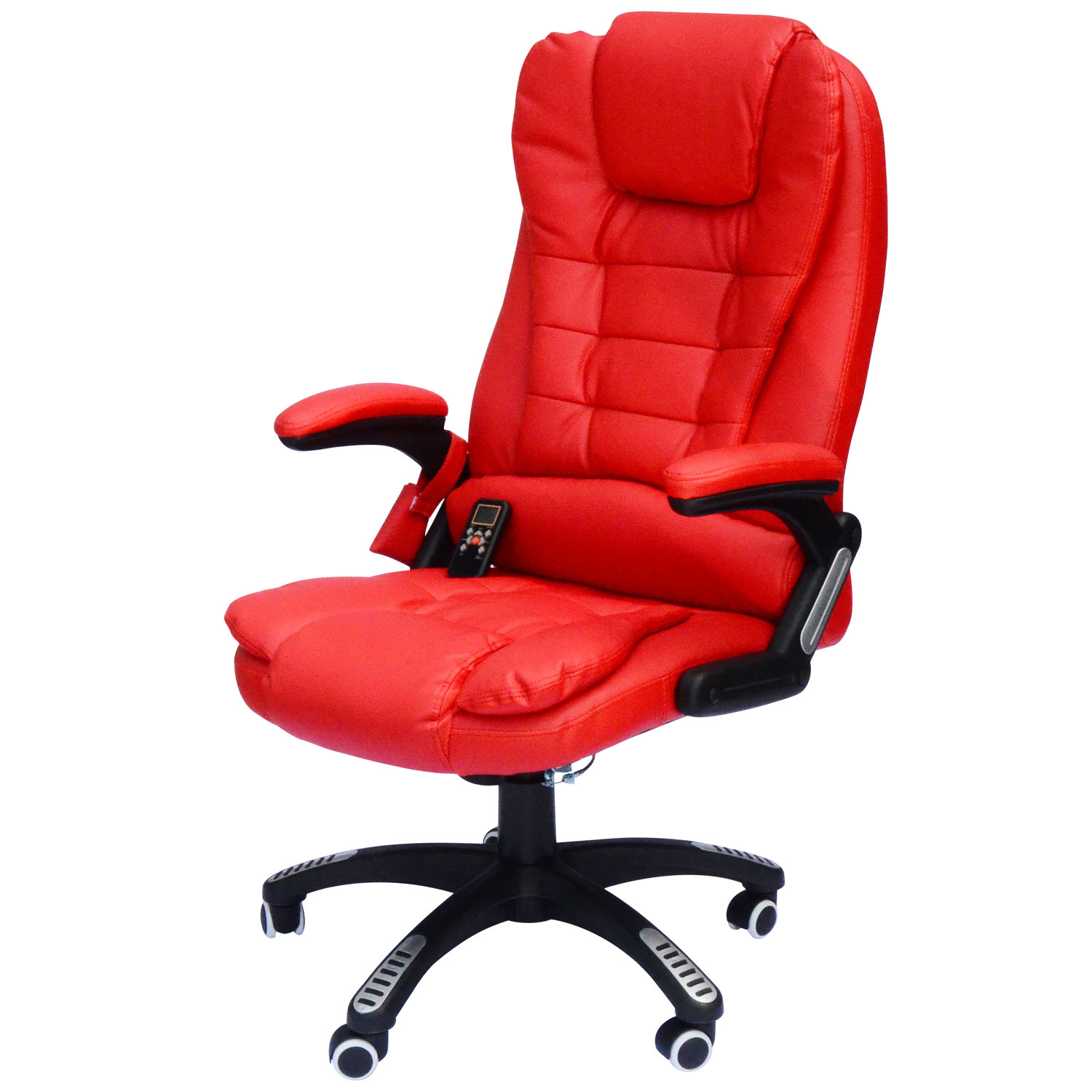 office chair red broyhill accent chairs desk work adjustable homcom high back executive ergonomic pu leather heated vibrating massage