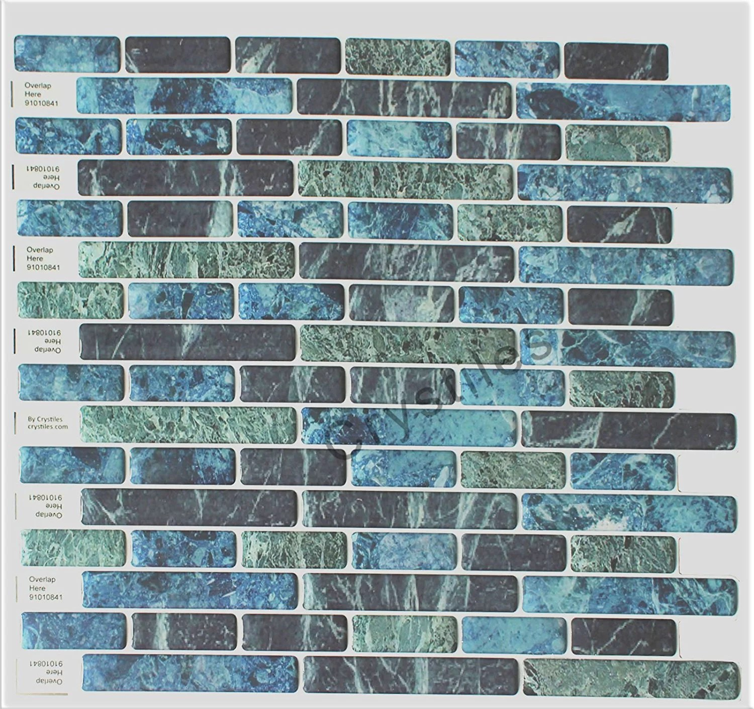 crystiles blue green turquoise and black marble 10 in x 10 in peel and stick vinyl wall tile backsplash 6 pack