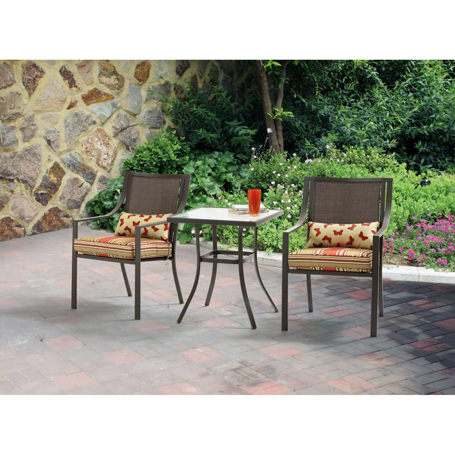 Metal Bistro Table And Chairs Mainstays Alexandra Square 3 Piece Outdoor Bistro Set