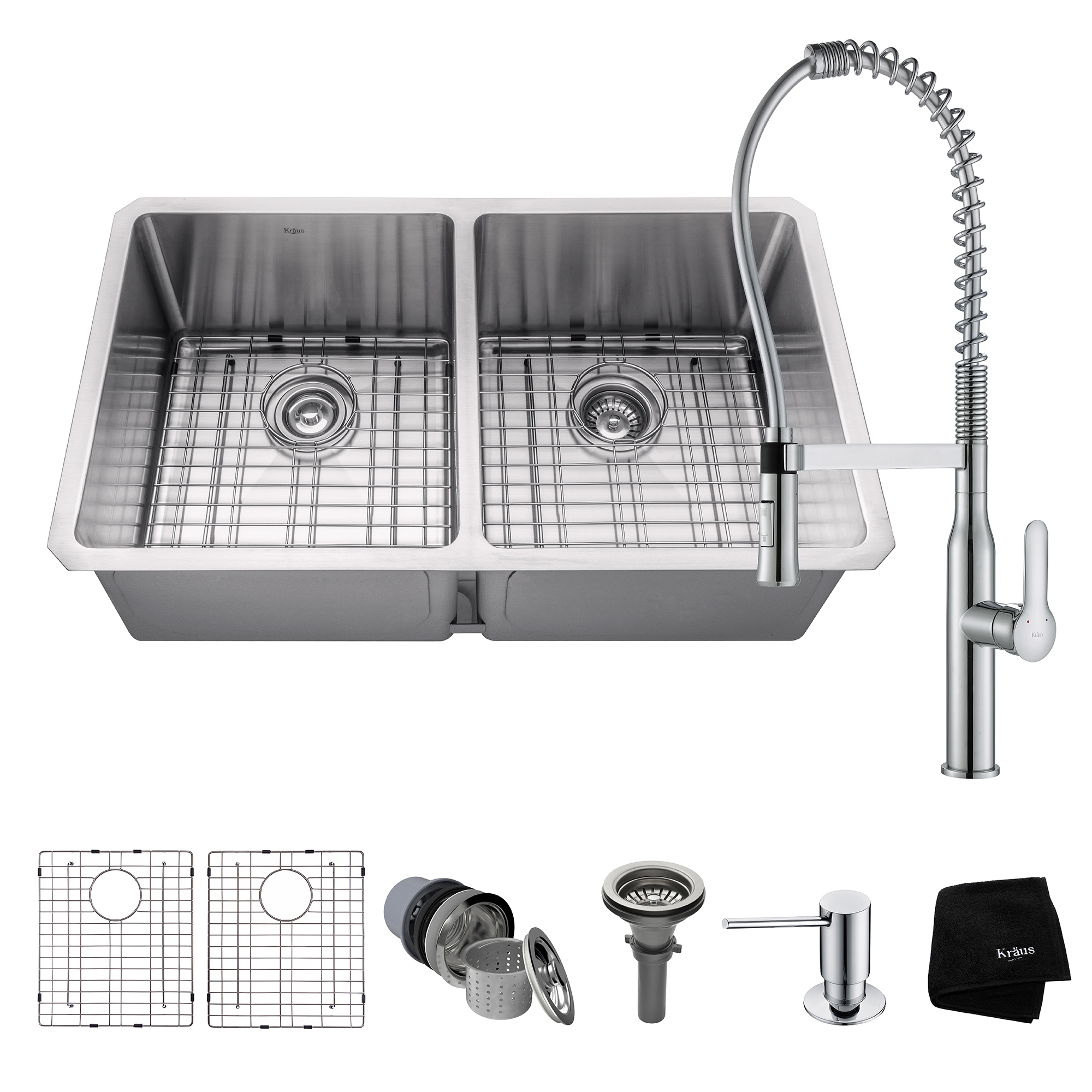 commercial kitchen sink herbs and spices kraus combo with 33 inch undermount 50 double bowl 16 gauge stainless steel