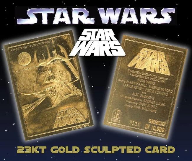 star wars a new hope original movie poster 23kt gold card sculptured 10 000