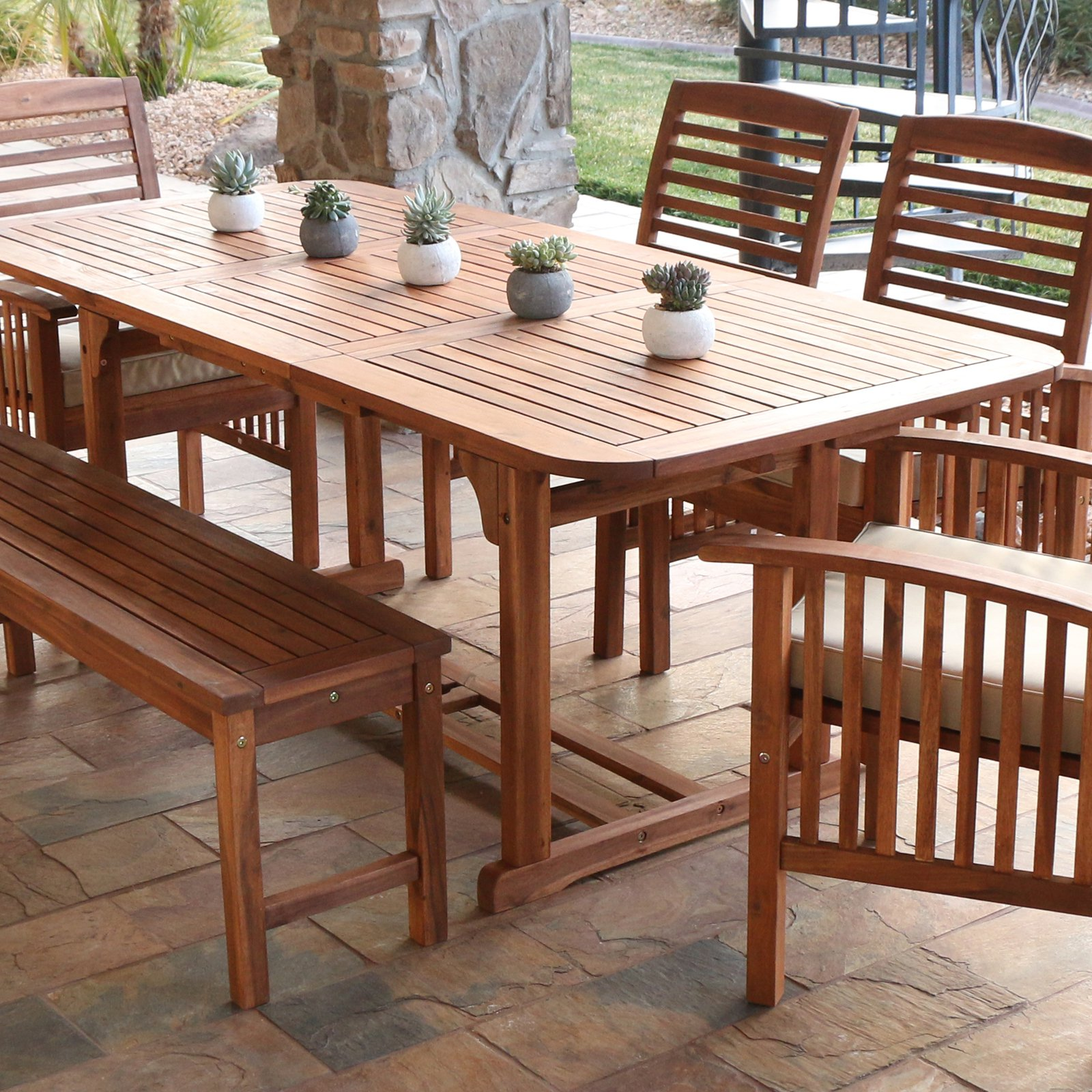 acacia wood patio extendable dining table brown