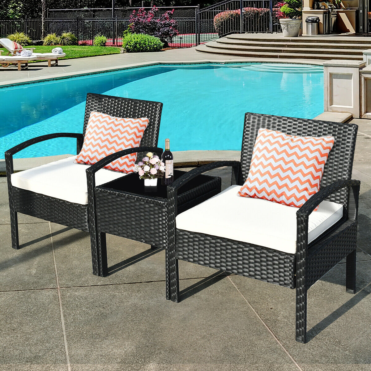 gymax 3pcs patio rattan furniture
