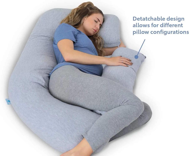 pharmedoc full body pregnancy pillow pregnant women w detachable extension grey