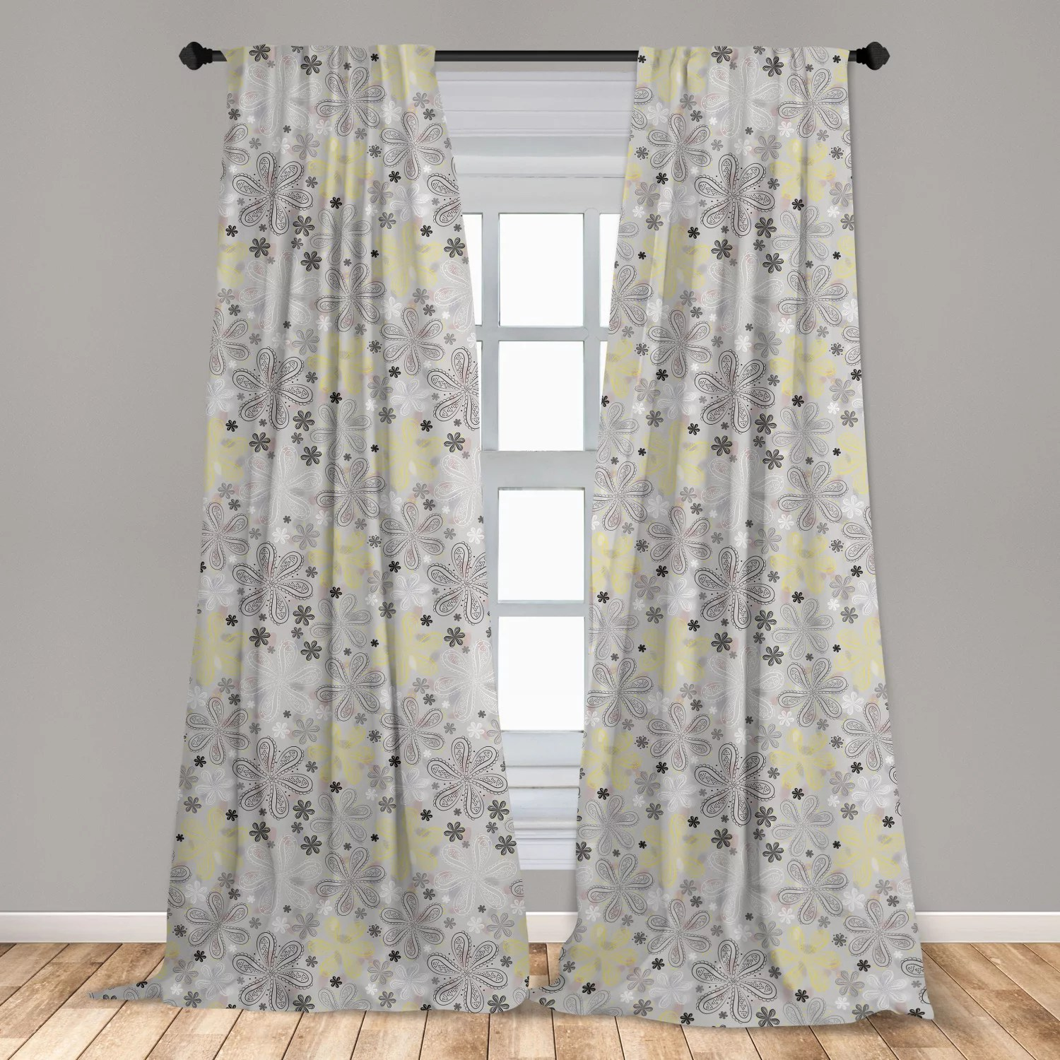 grey and yellow curtains 2 panels set bohem style paisley print flowers dots art image window drapes for living room bedroom pale grey white by