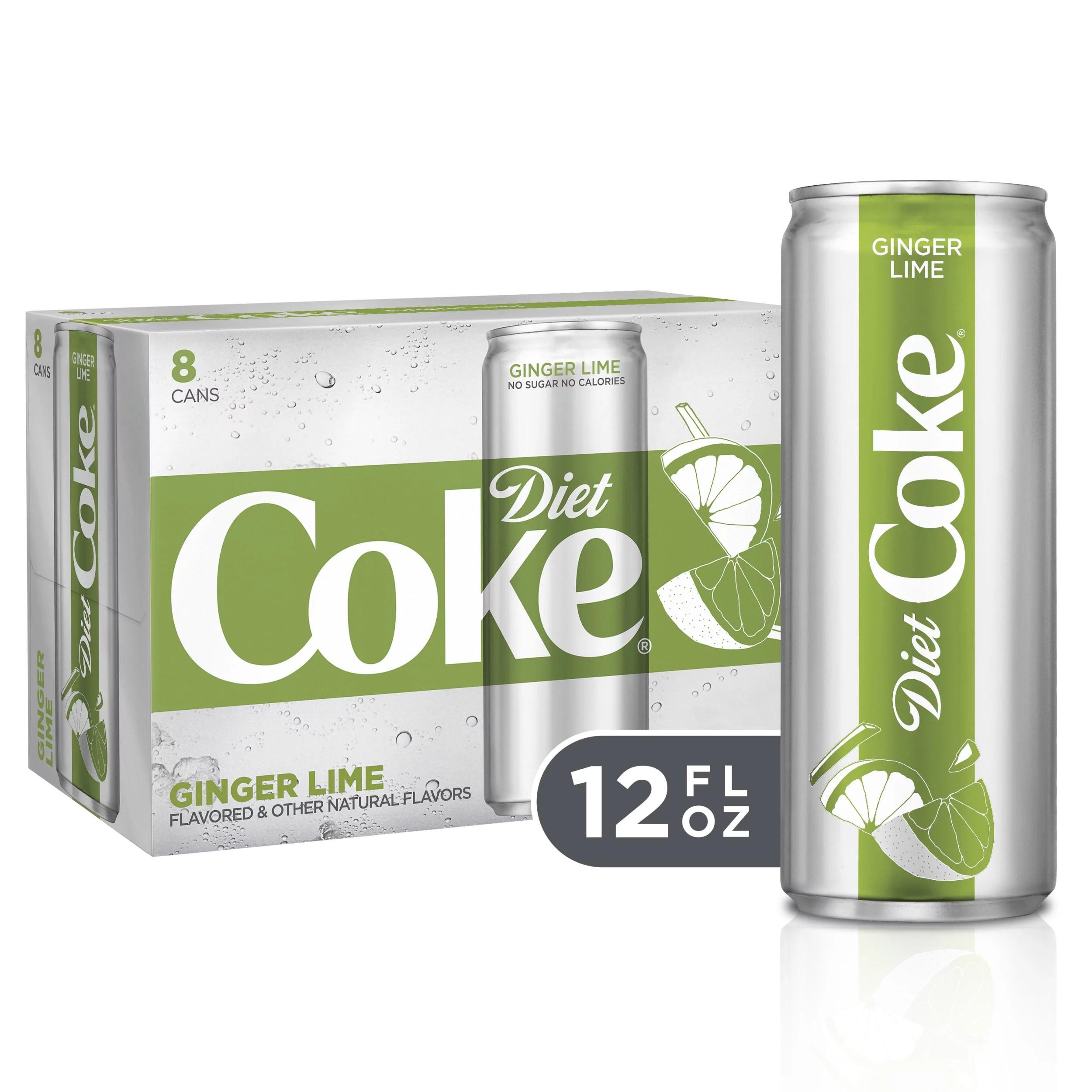 Diet Coke Ginger Lime Soda Soft Drink 12 fl oz 8 Pack ...