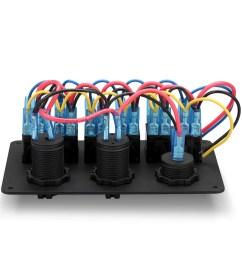6 gang waterproof aluminum 12v 24v boat marine rocker switch panel 2 usb charger cigarette socket voltmeter walmart com [ 1200 x 1200 Pixel ]