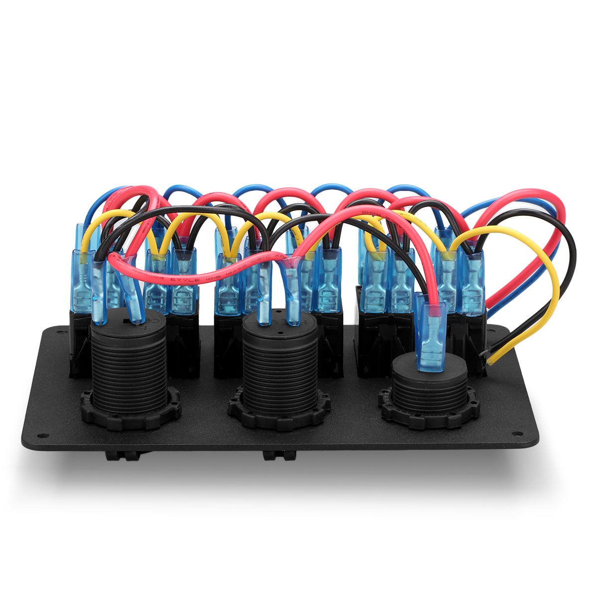 hight resolution of 6 gang waterproof aluminum 12v 24v boat marine rocker switch panel 2 usb charger cigarette socket voltmeter walmart com