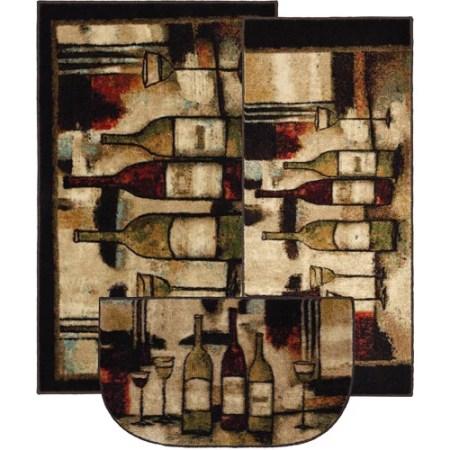 Mohawk Wine Glasses Piece Printed Kitchen Rug Set Walmart
