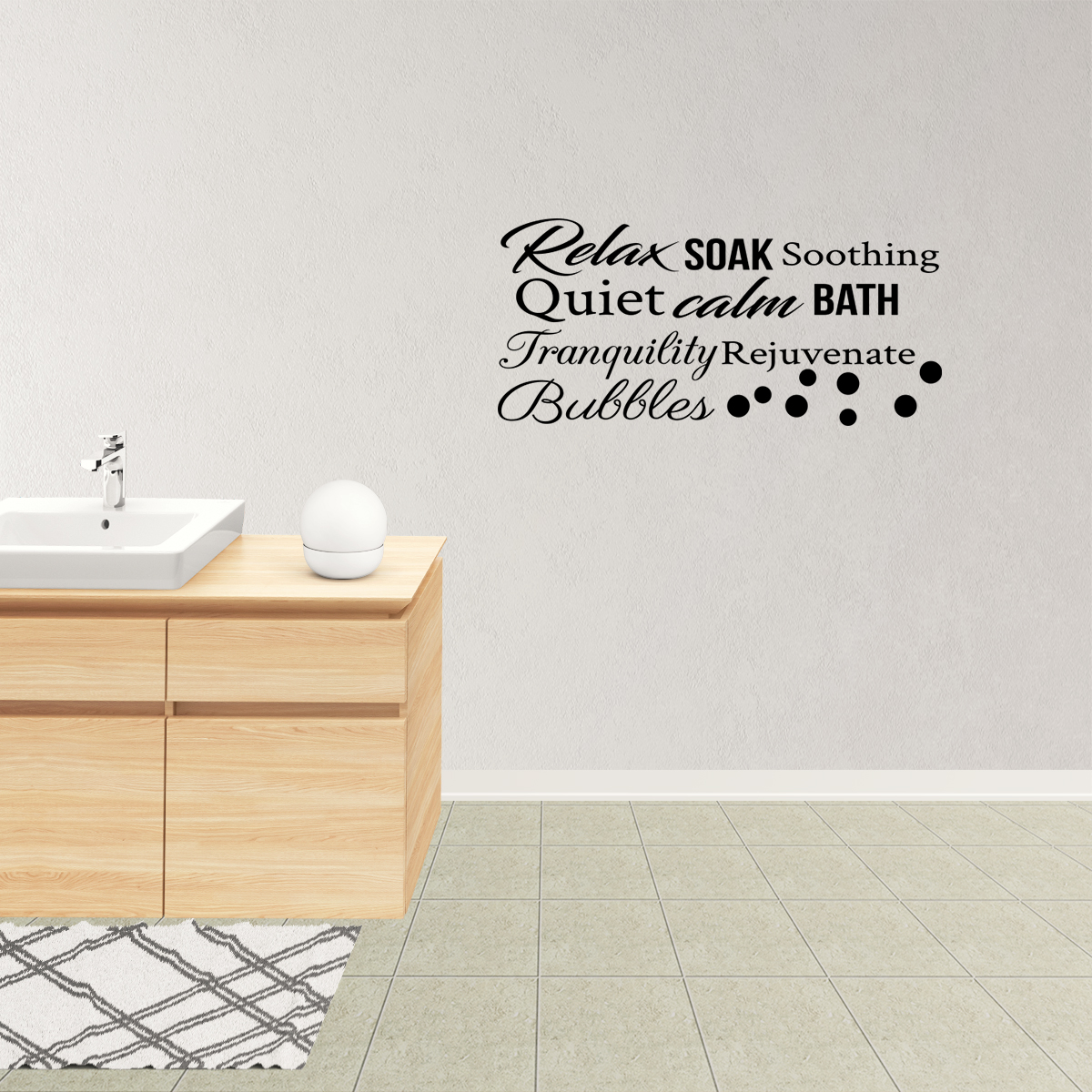 Wall Decal Quote Relax Soal Soothing Calm Tranquility