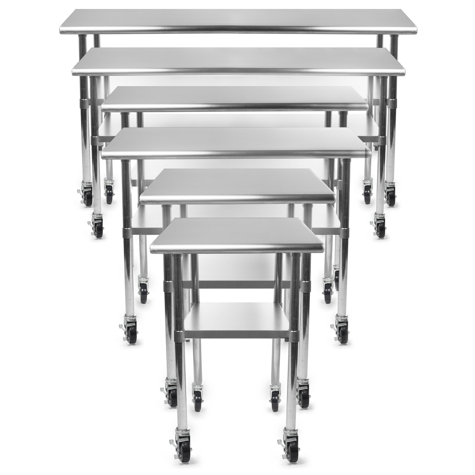 kitchen prep table pot sets gridmann nsf stainless steel commercial work w 4 casters multiple