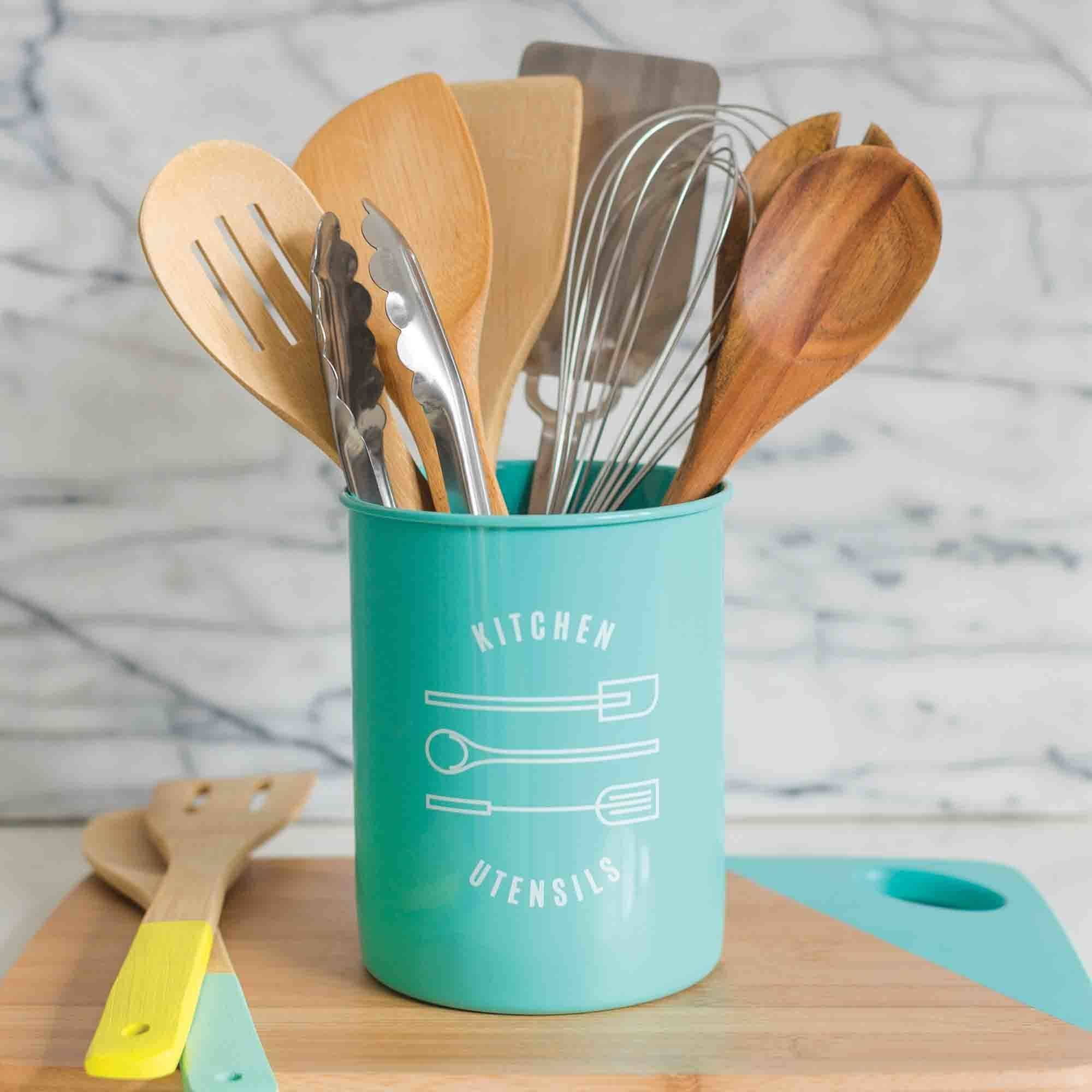 kitchen crocks organize my now designs utensil crock turquoise walmart com