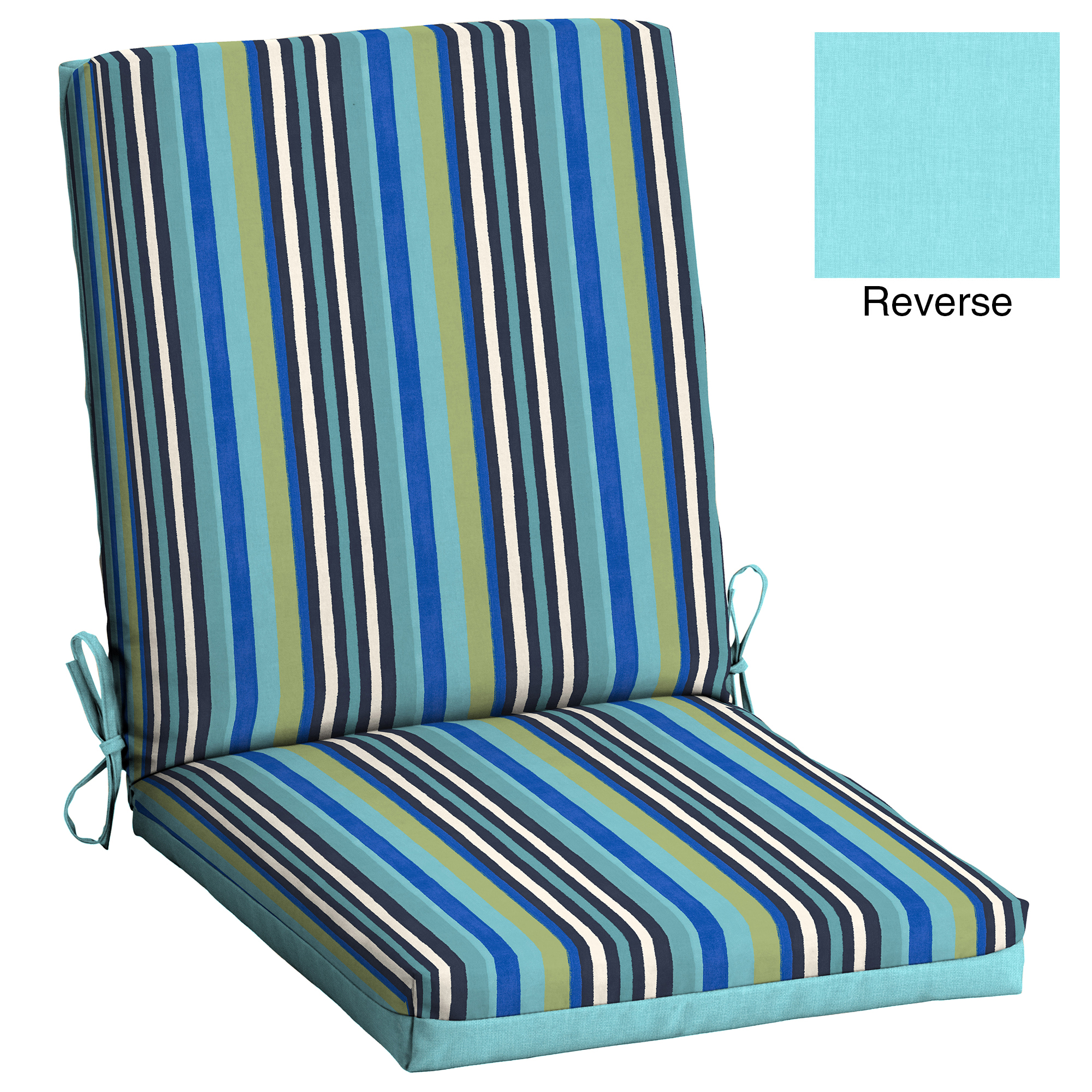 mainstays turquoise stripe 43 x 20 in outdoor patio chair cushion
