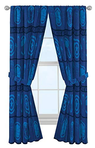 marvel avengers blue icons 84 inch drapes beautiful room decor easy set up bedding features captain america iron man curtains include 2