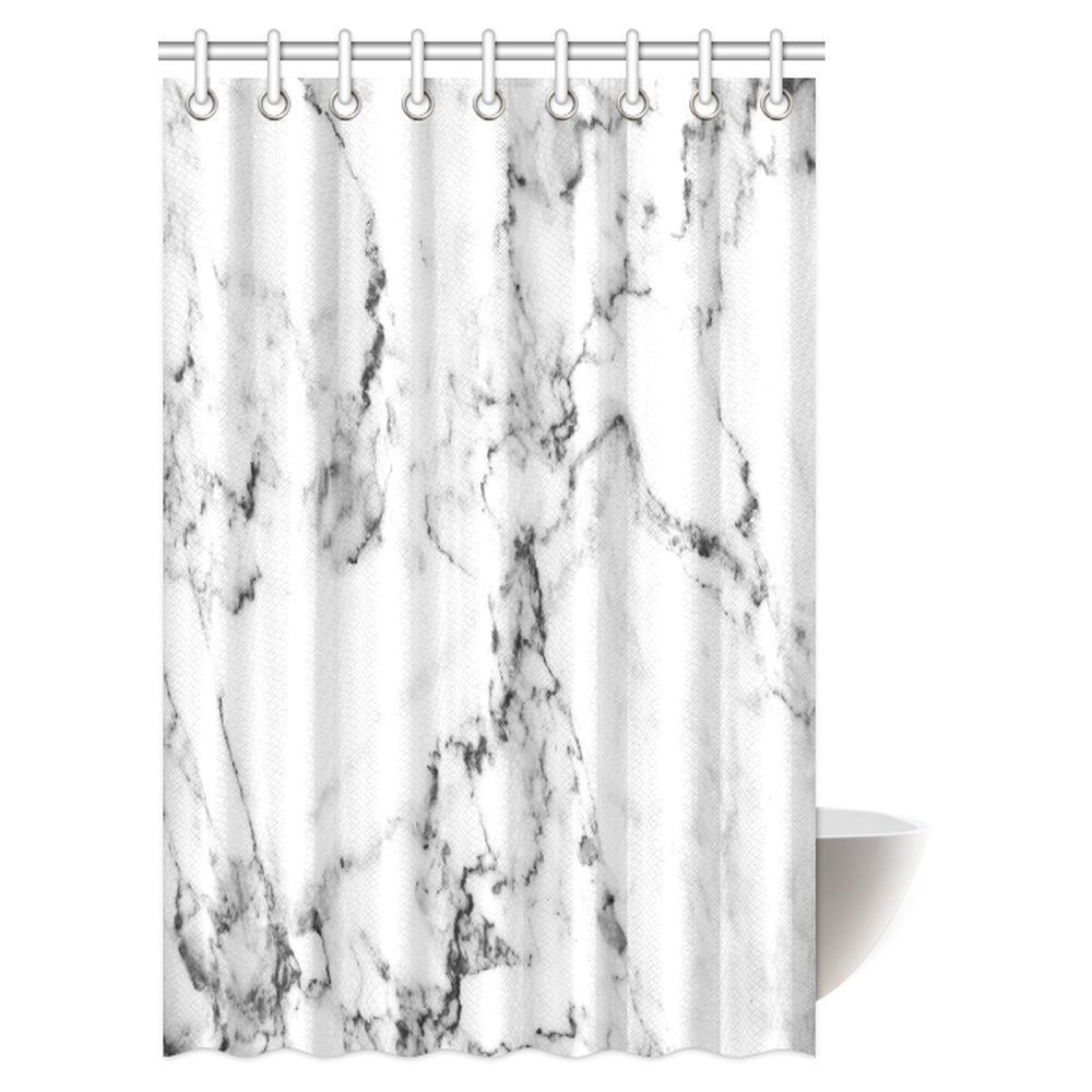 mypop white marble shower curtain natural stone pattern with hazy effects granite ceramic rock formation print decor fabric bathroom shower curtain