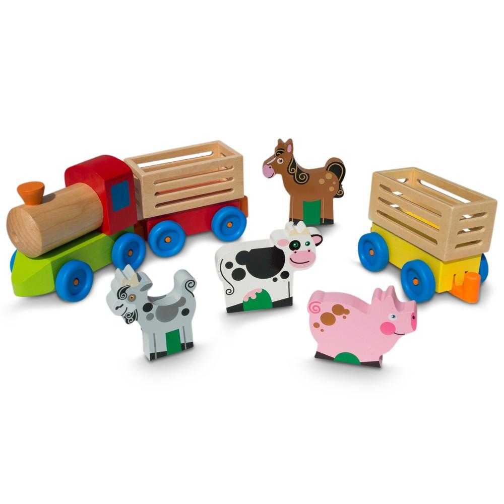 4 Farm Animals On Wooden Train With 2 Cars Toy Set