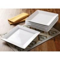 Better Homes and Gardens Square Dinner Plates, White, Set ...