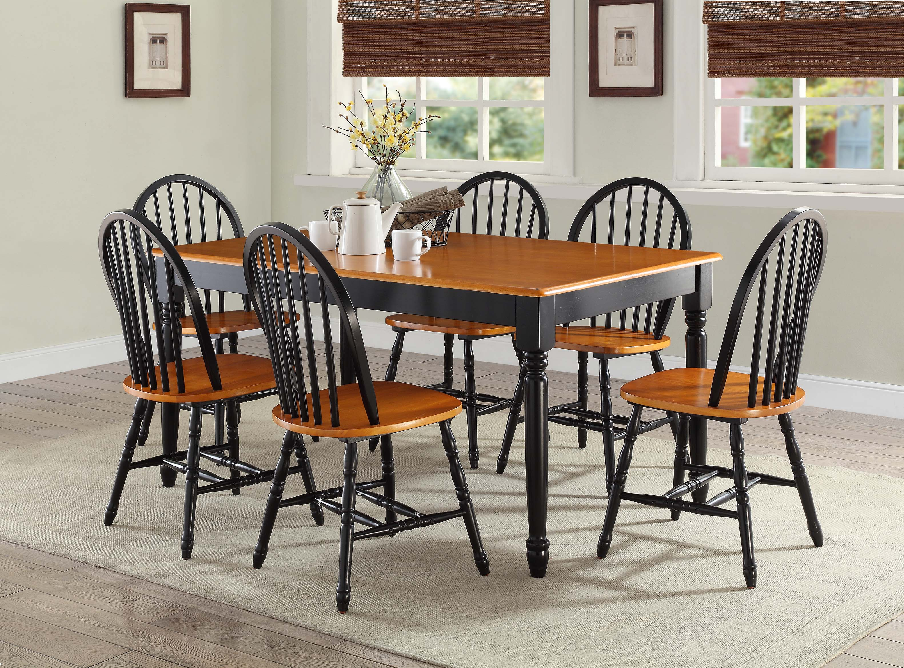 Better Homes and Gardens Autumn Lane Farmhouse Dining Table Black and Oak  eBay