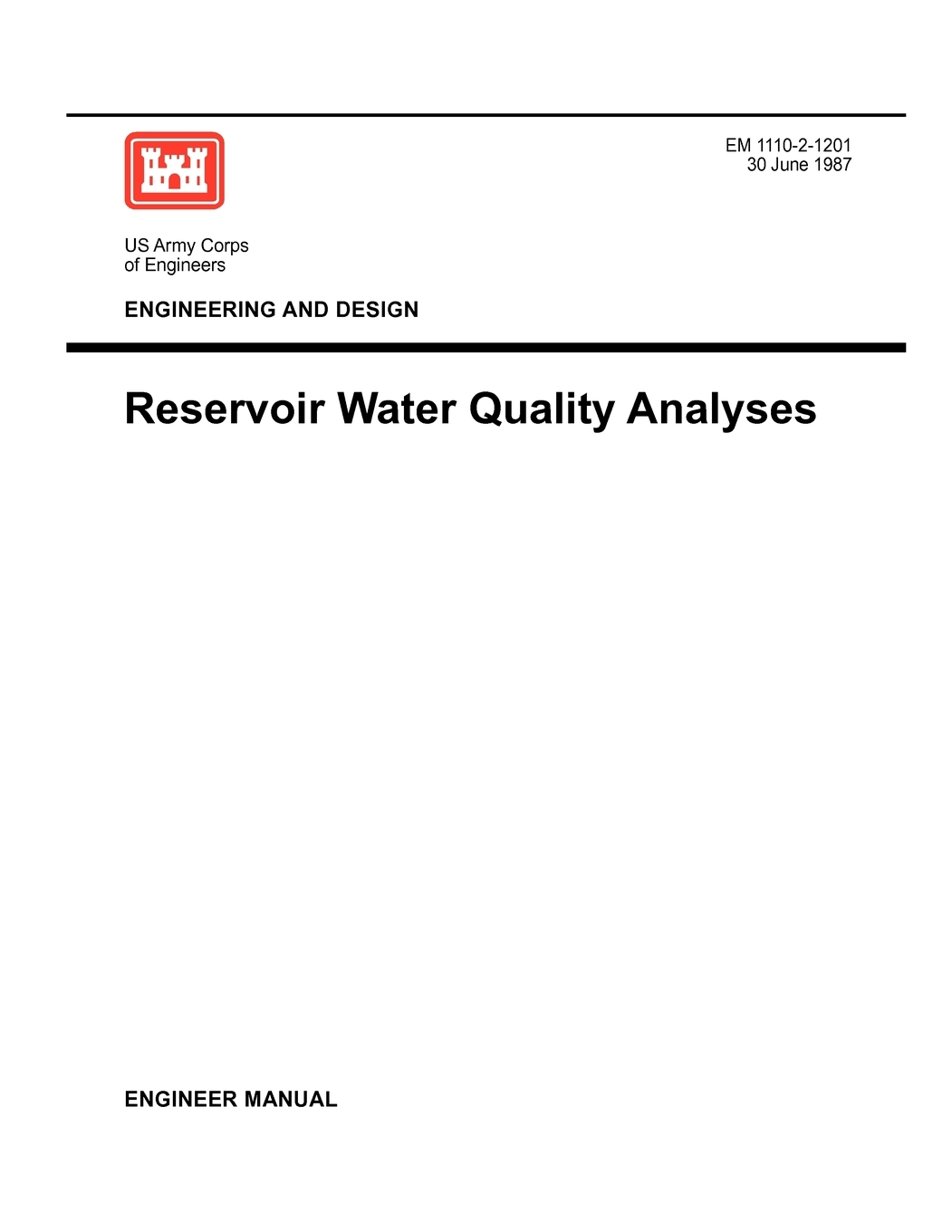 Engineering and Design : Reservoir Water Quality Analysis
