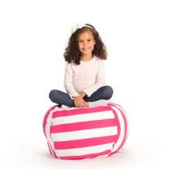 Bean Bag Storage Chair Velvet Side Stuffed Animal Pink White Striped Clean Up The Room