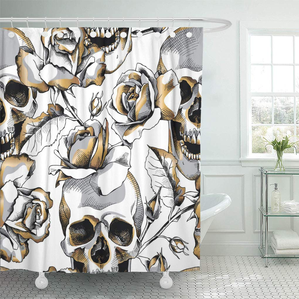 pknmt silver black with gold skull and rose flowers on white death floral halloween waterproof bathroom shower curtains set 66x72 inch
