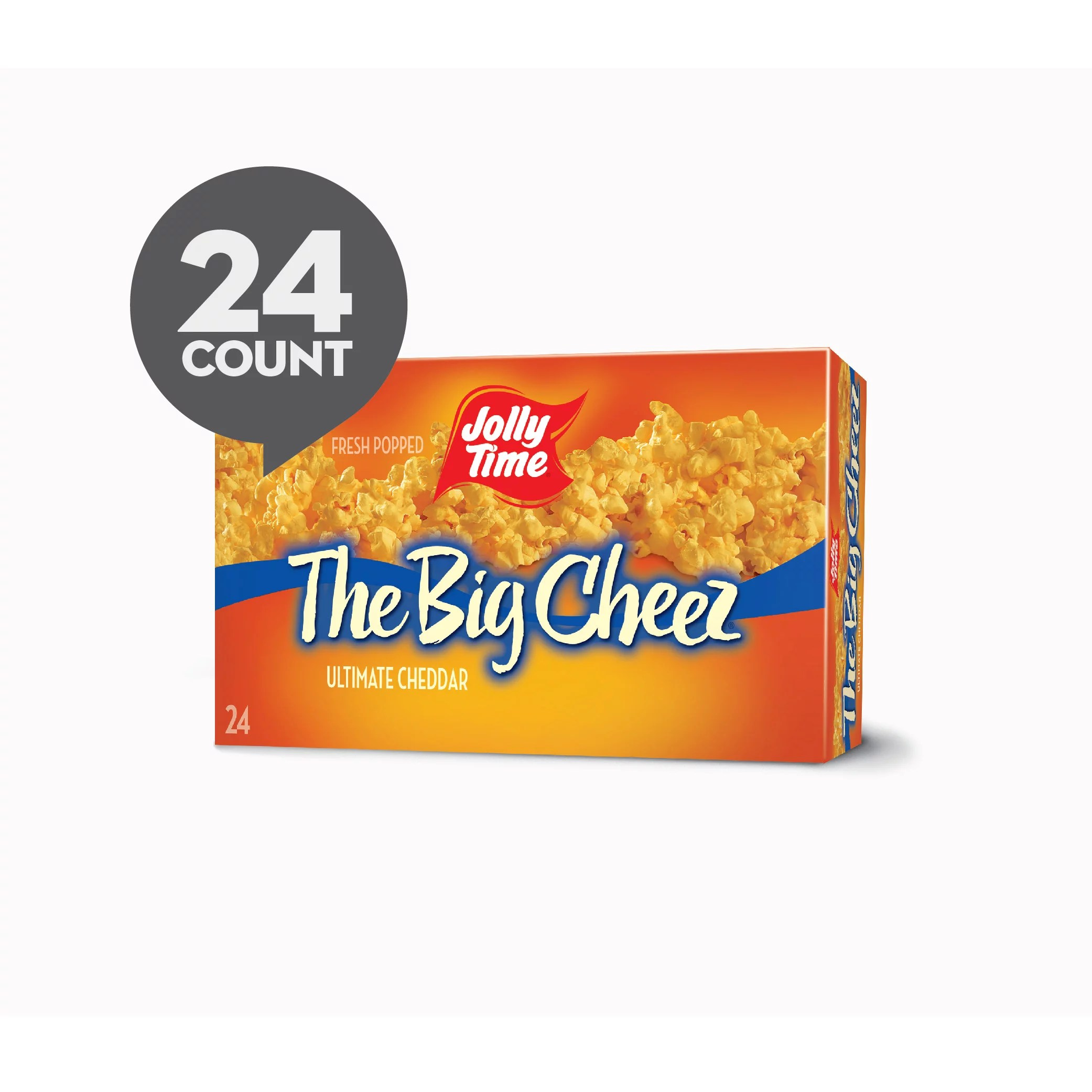 jolly time the big cheez cheddar cheese microwave popcorn 24 ct 3 5 oz bags