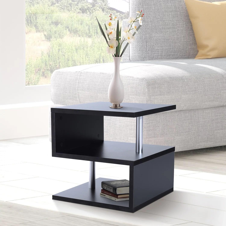 wooden s shape end table 3 tier storage shelves organizer living room side table desk black