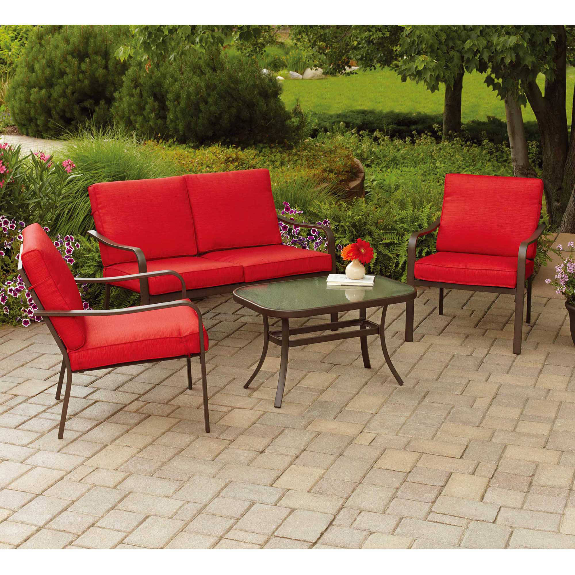 patio table and chairs clearance folding picnic tesco mainstays stanton cushioned 4 piece conversation set red walmart com