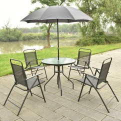 Round Table And Chairs Set Big Overstuffed Chair With Ottoman Costway 6 Pcs Patio Garden Furniture Umbrella Gray 4 Folding Walmart Com