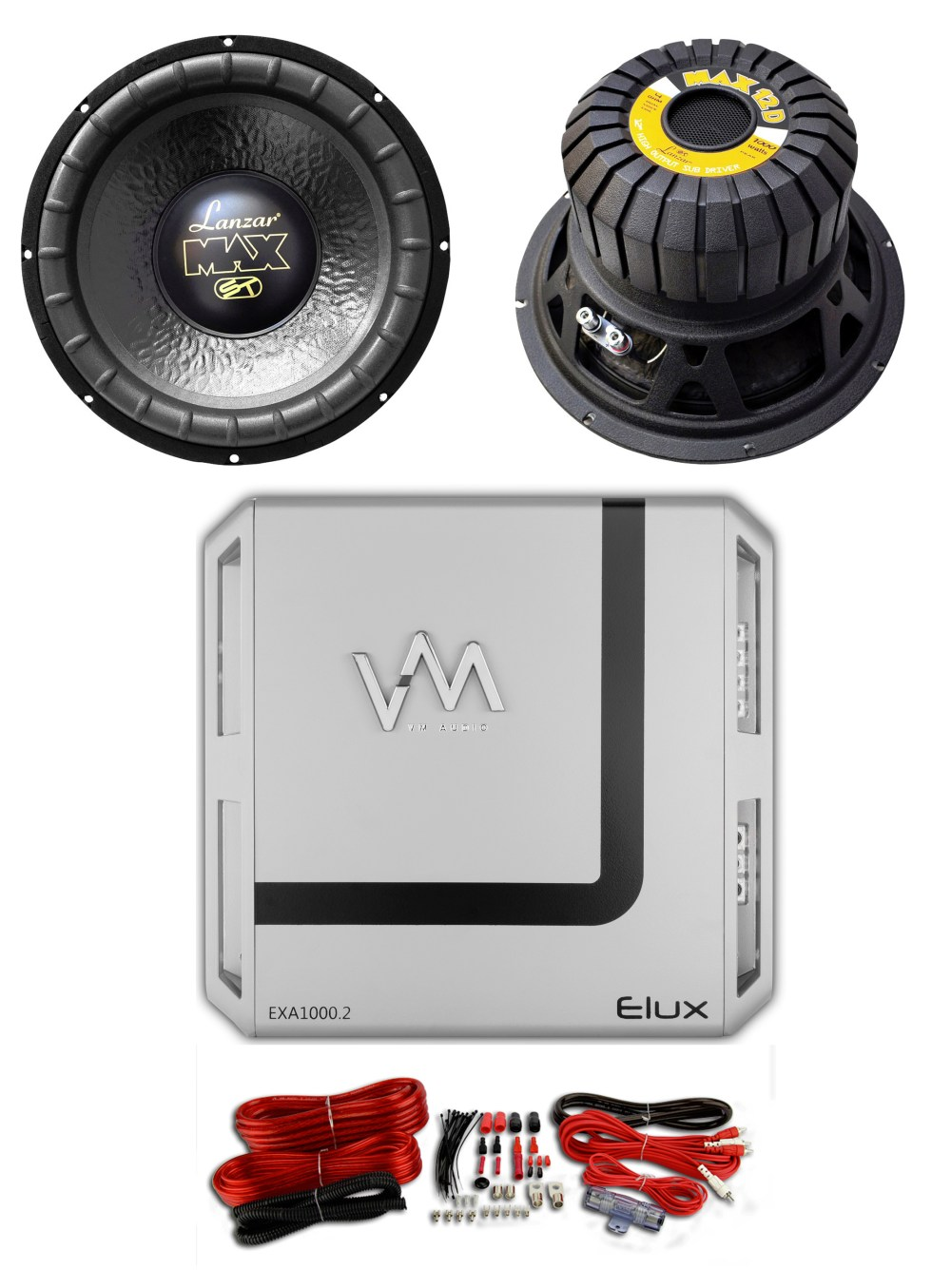 medium resolution of 2 lanzar max12d 12 2000w car audio subwoofers 2 channel amplifier wiring