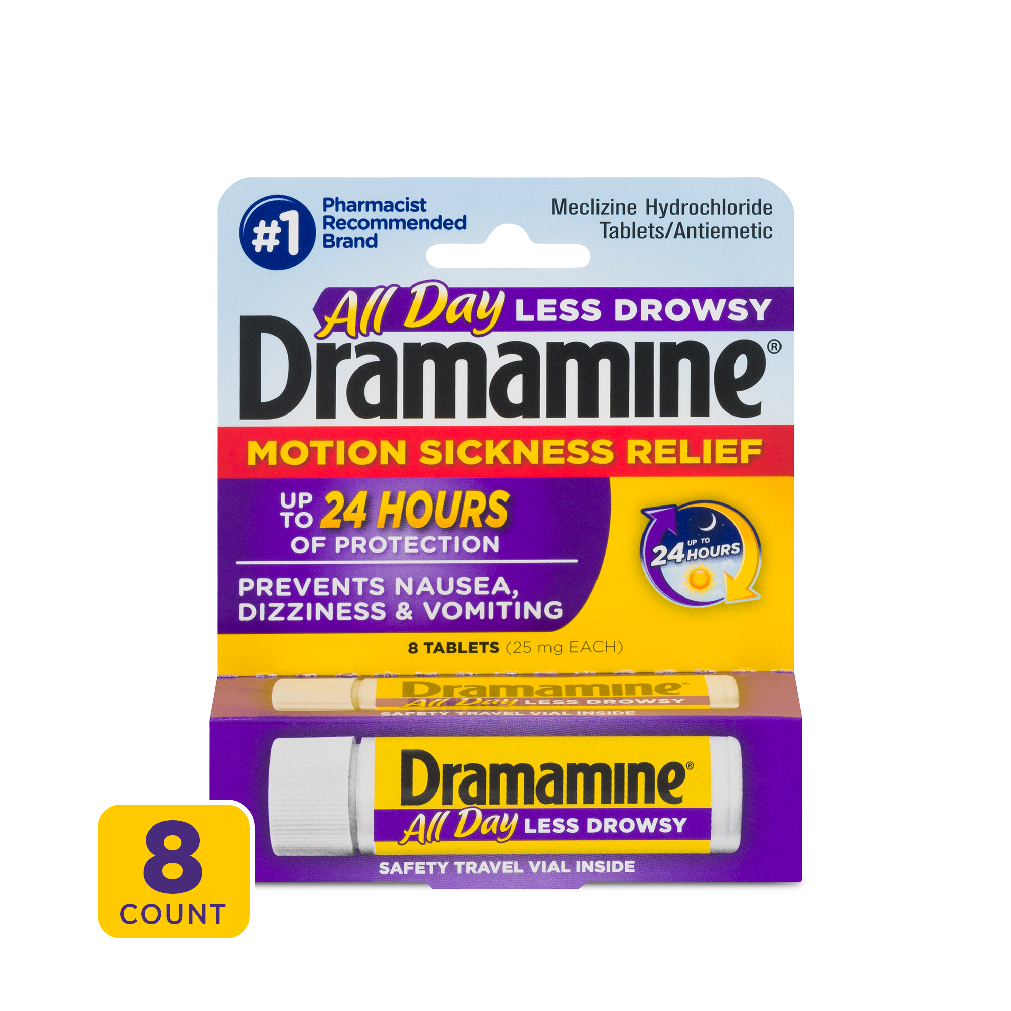 Dramamine All Day Less Drowsy Motion Sickness Relief 8 ...