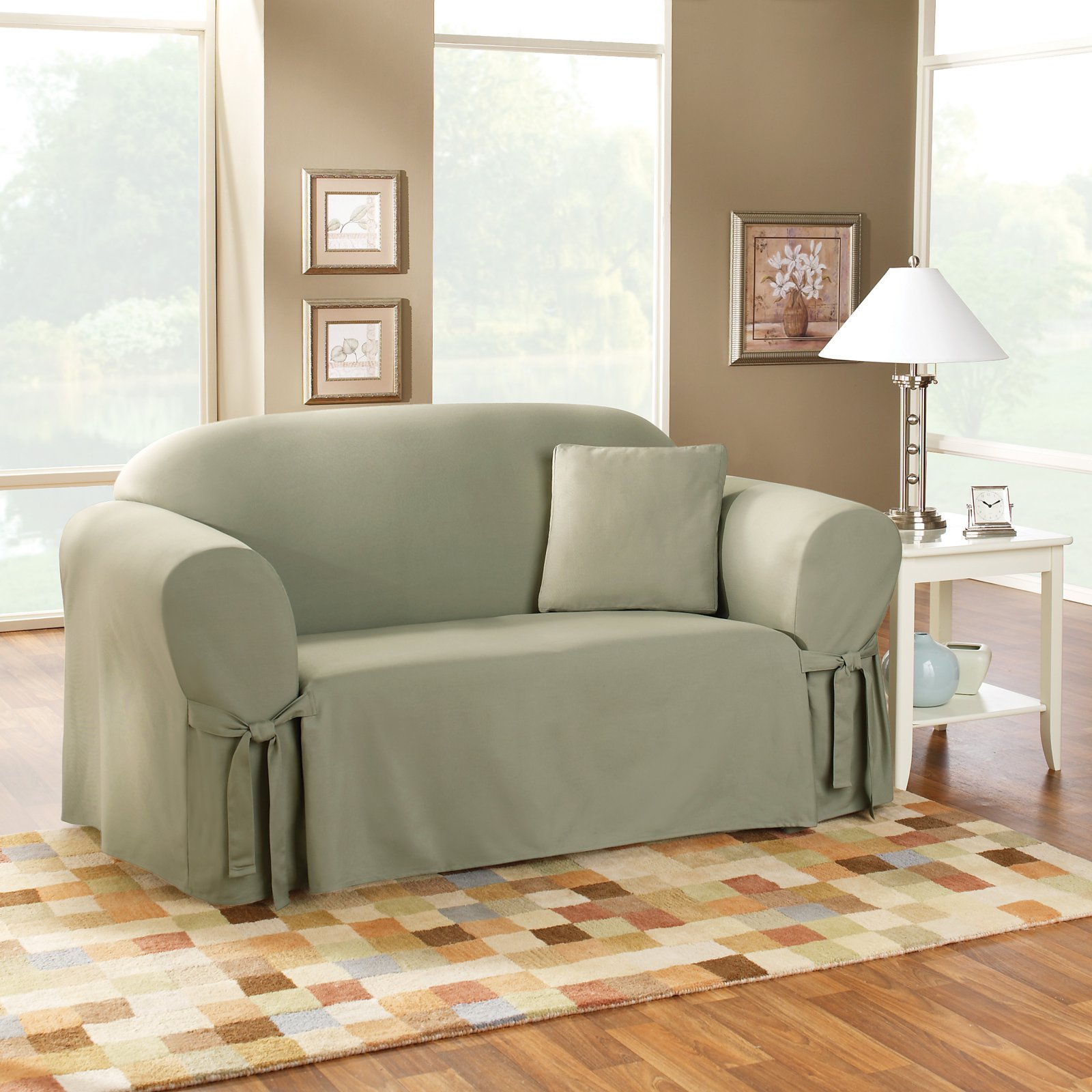 sage sofa slipcovers atlanta 3 seater bed sure fit cotton duck slipcover walmart