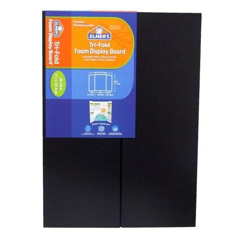 elmer s premium foam tri fold display board 3 16 thick 28 x 40 black walmart com
