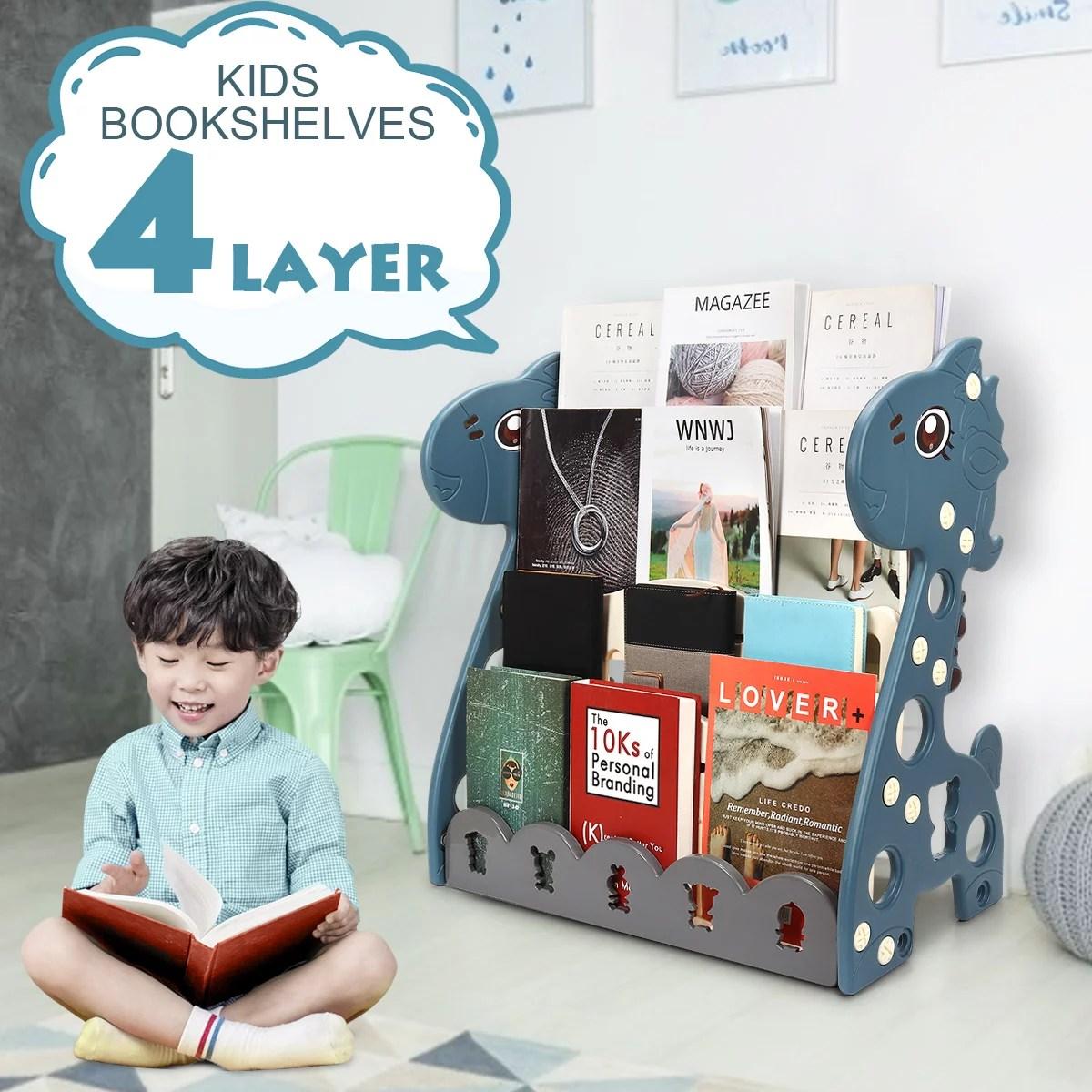 4 5 tier kids book shelf sling storage rack organizer bookcase bookshelf freestanding children s book rack