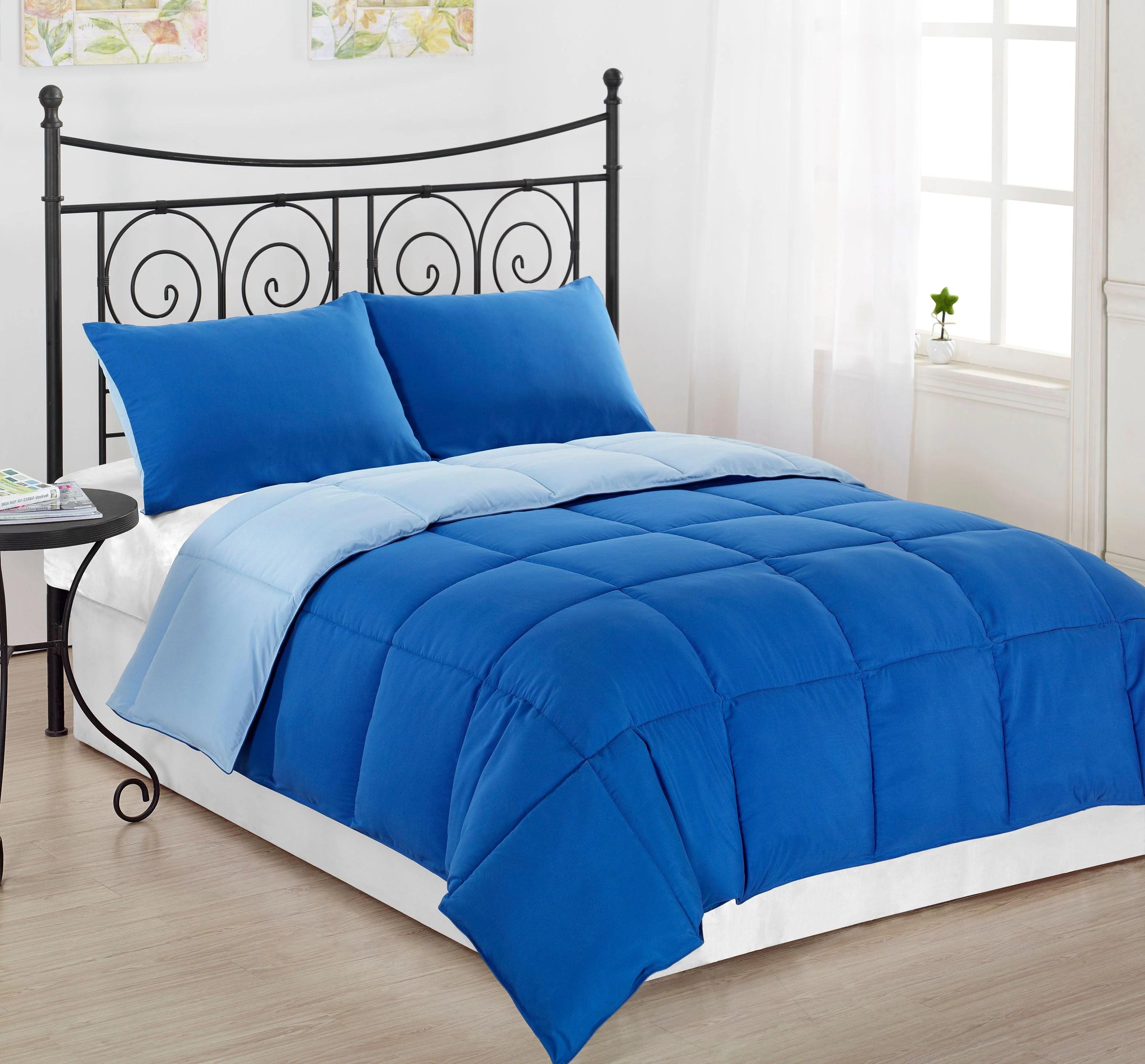 cozybeddings reversible collection 2pc down alternative comforter set blue light blue king walmart com