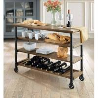 Whalen Santa Fe Kitchen Cart with Wine Rack and TV Stand ...