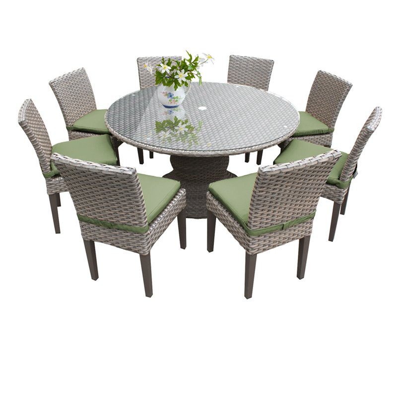 tkc oasis 9 piece 60 round glass top patio dining set