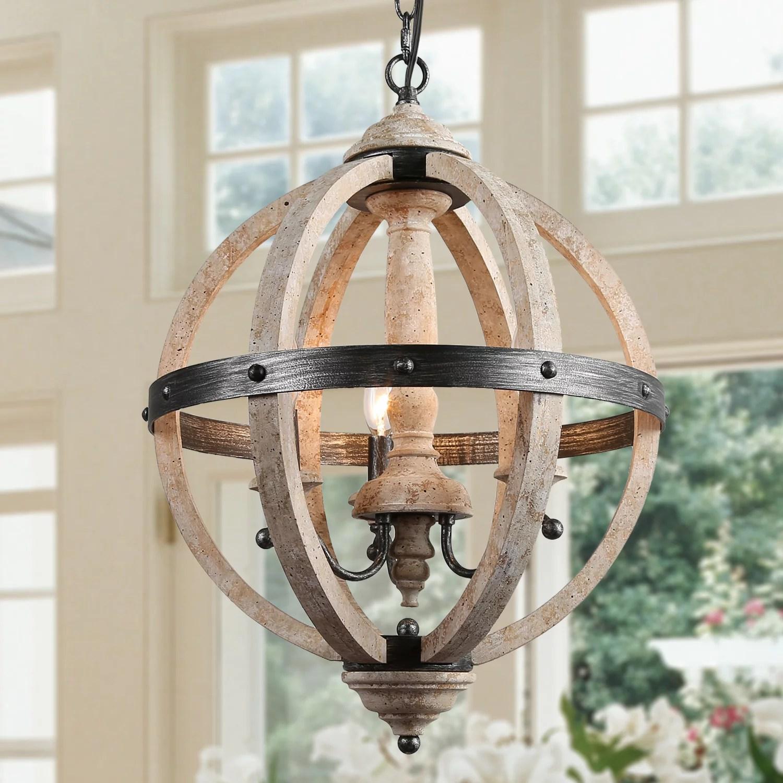 lnc farmhouse chandeliers 3 lights wood pendant lighting fixture for kitchen island