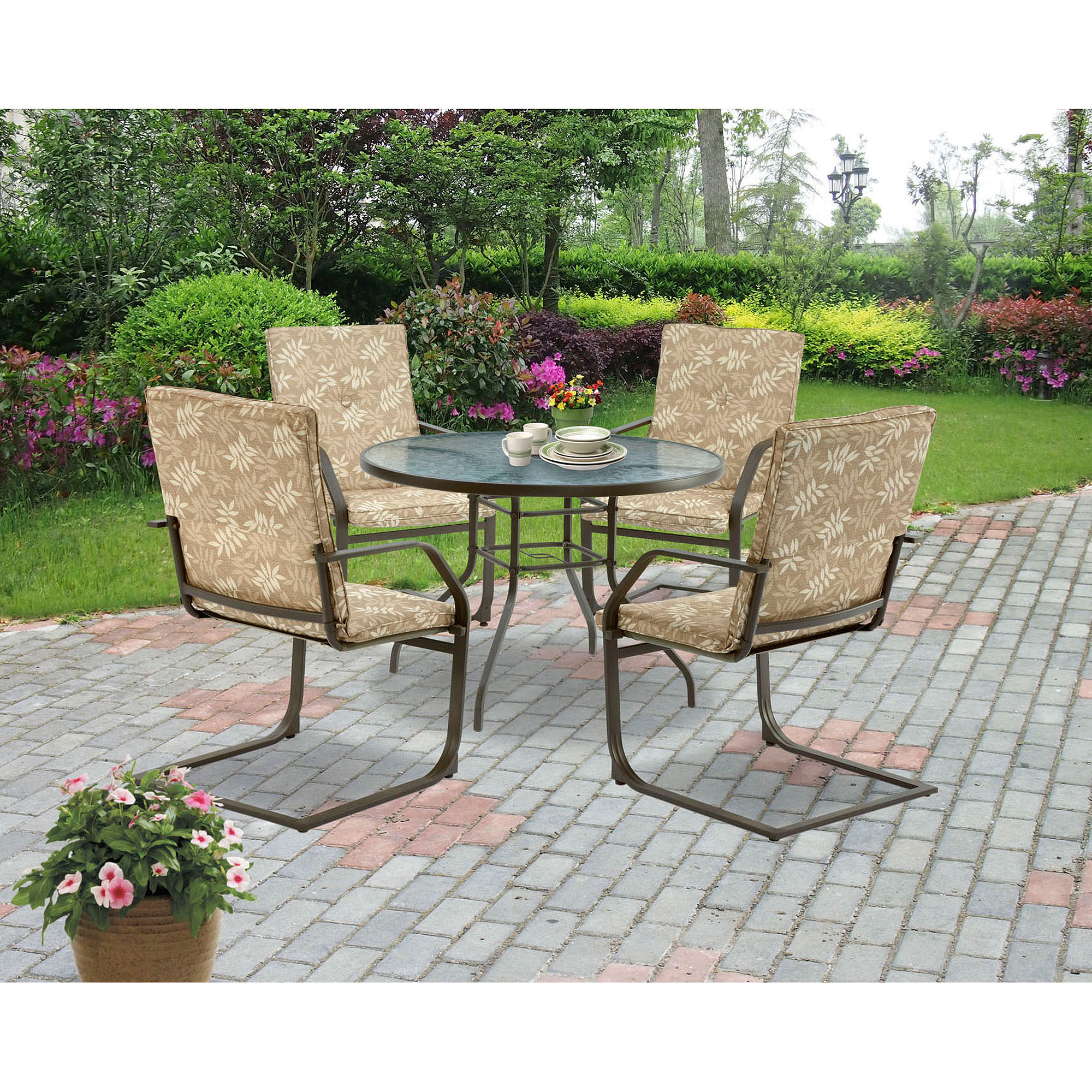 c spring patio chairs elevator for homes mainstays campton 5 piece dining chair walmart com