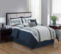 7 Piece Oversized Luxury Embroidery Bed In Bag Microfiber