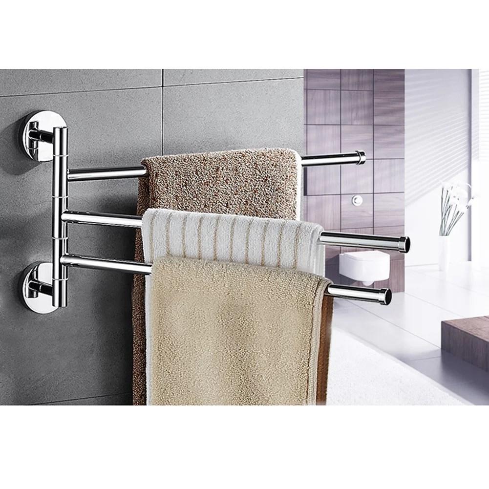 bath towel holder wall mounted swing out towel bar bathroom stainless steel hand towel rack 3 bar folding arm swivel hanger 3 bars