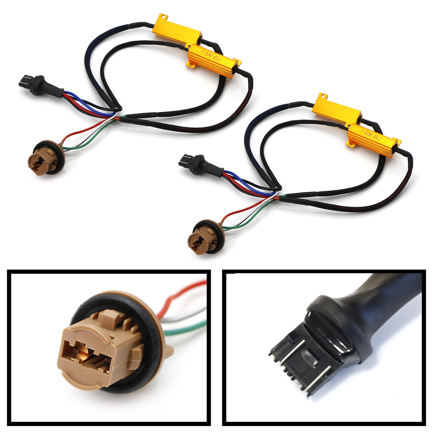 hight resolution of ijdmtoy 2 hyper flash bulb out error fix wiring adapters for 7443 7444 t20 led bulbs turn signal or tail brake lights walmart com