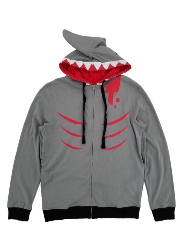 Mens Lightweight Shark Face Costume Zip Hoodie With Fin