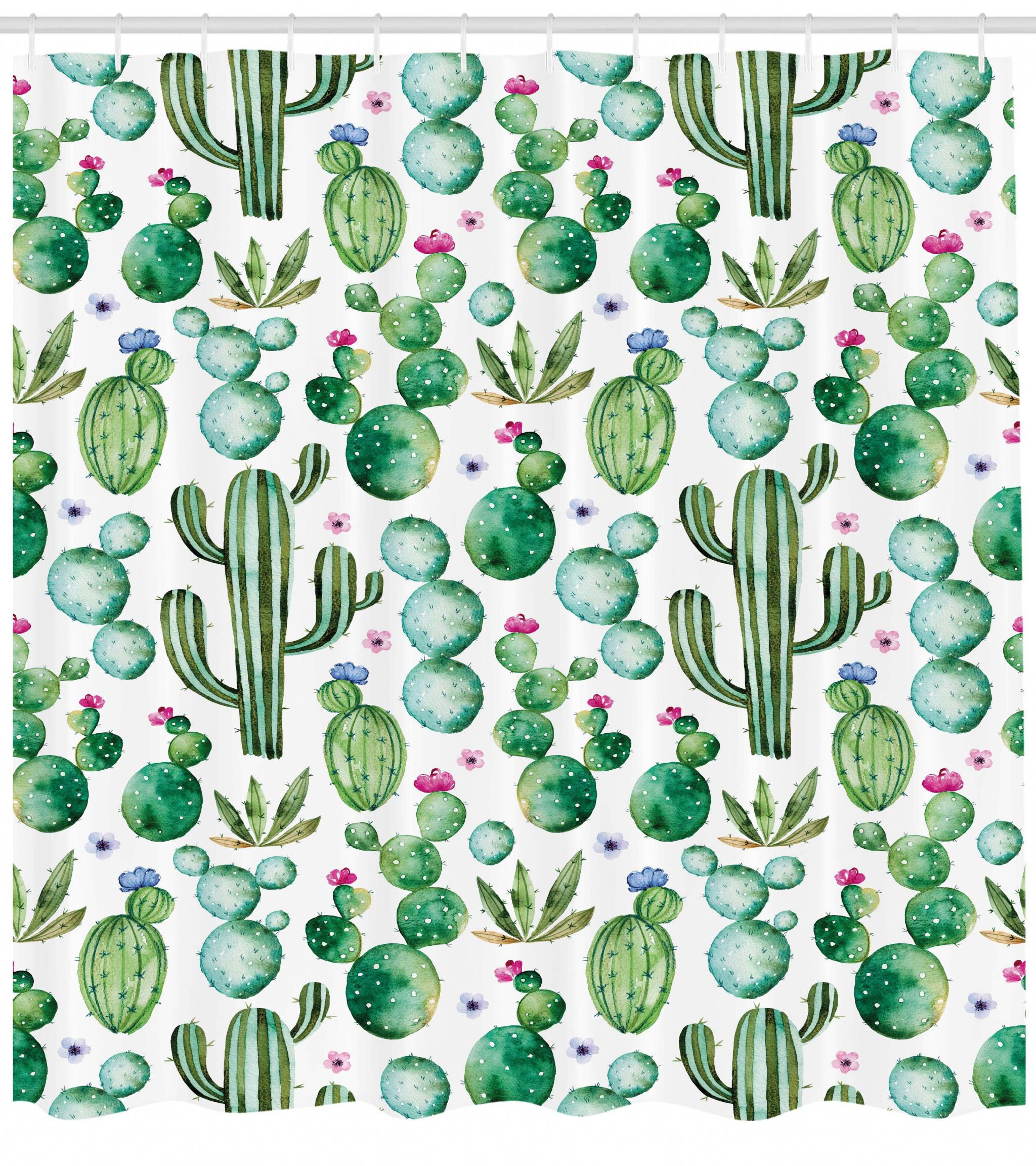 Green Shower Curtain Mexican Texas Cactus Plants Spikes Cartoon Like Artistic Print Fabric