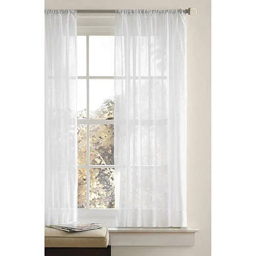 better homes gardens crushed voile curtain panel in white 51 x 63