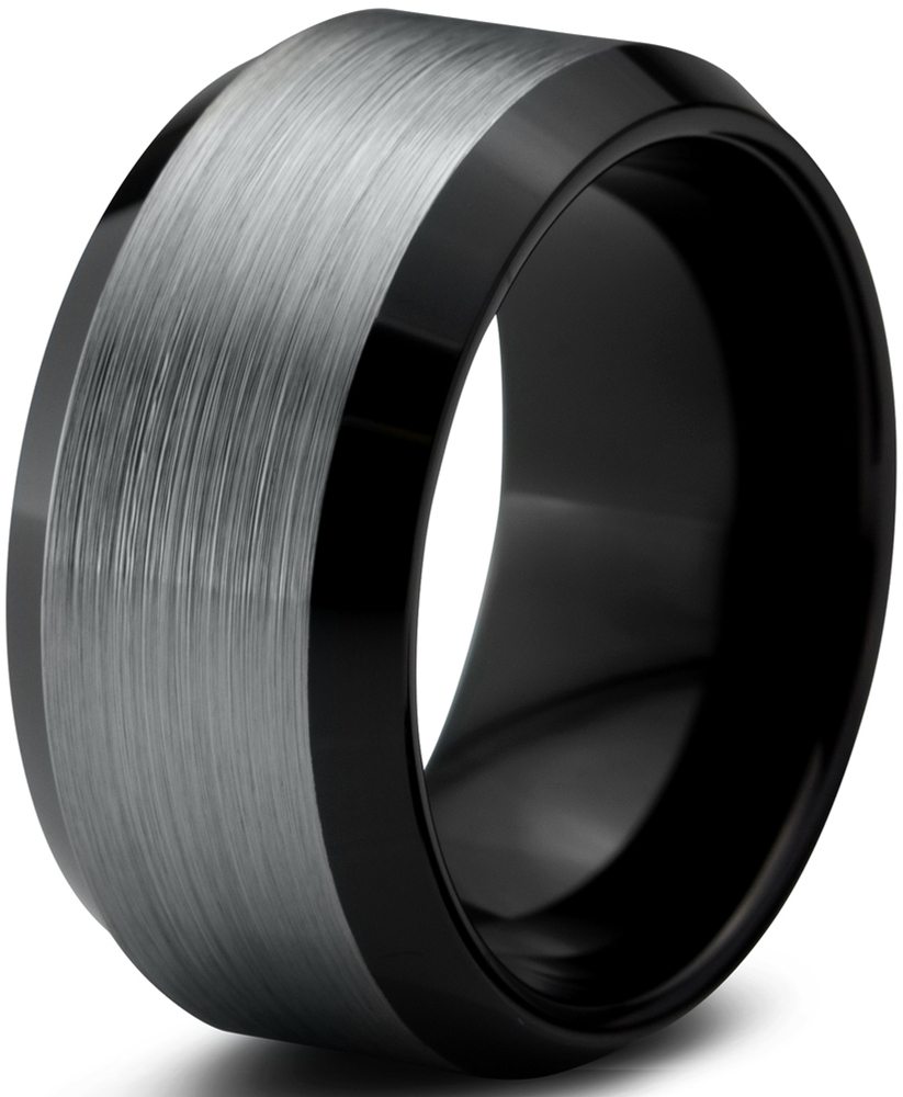 Tungsten Wedding Band Ring 10mm Men Women Comfort Fit Black Beveled Edge Polished Brushed
