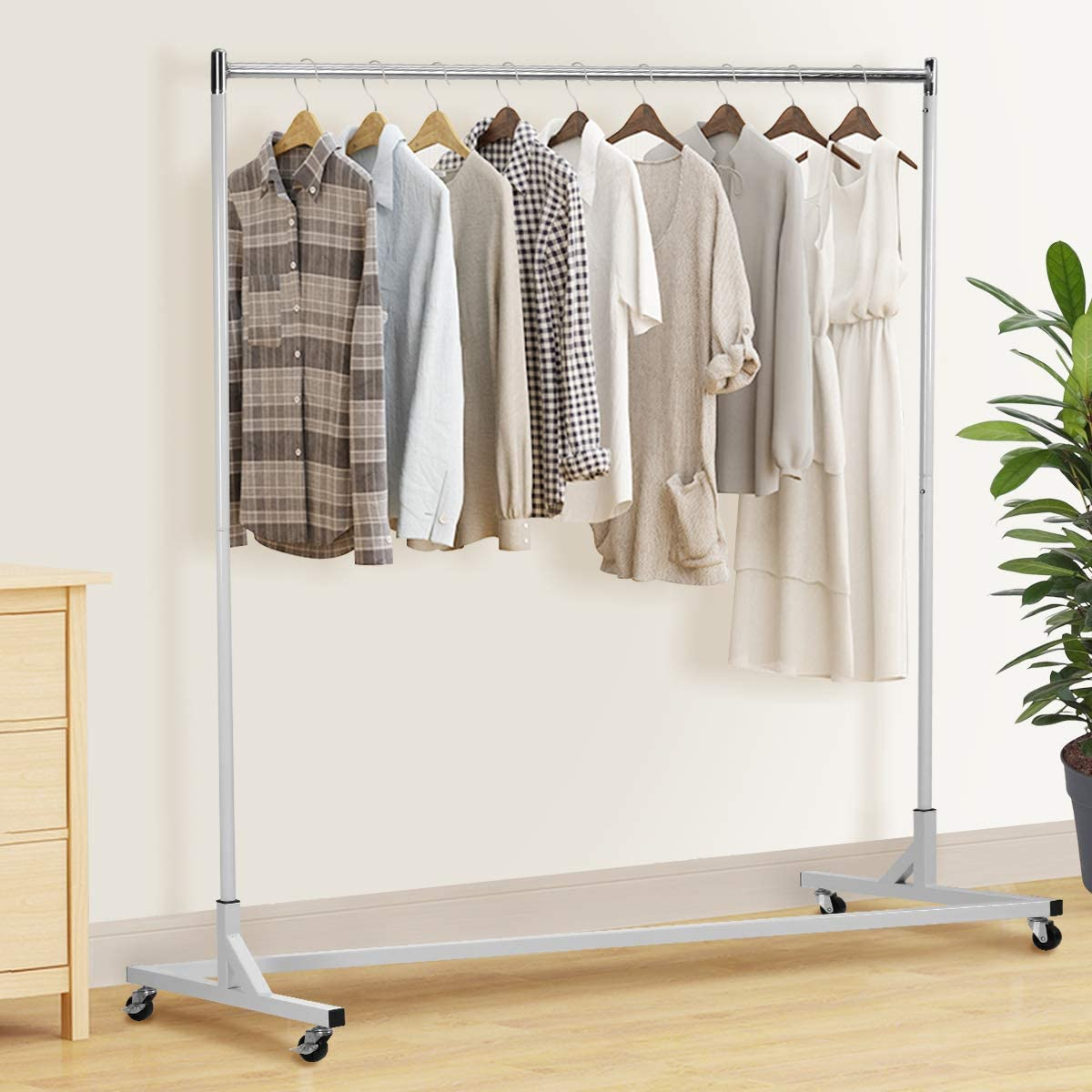 clothing garment rack clothes hanger double hanger clothes rolling rack on wheels