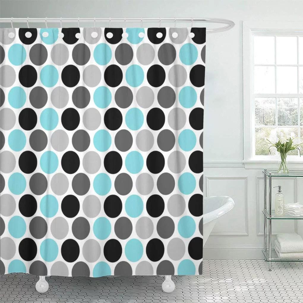 cynlon geometric teal gray black retro circles girly preppy stripes bathroom decor bath shower curtain 60x72 inch walmart com